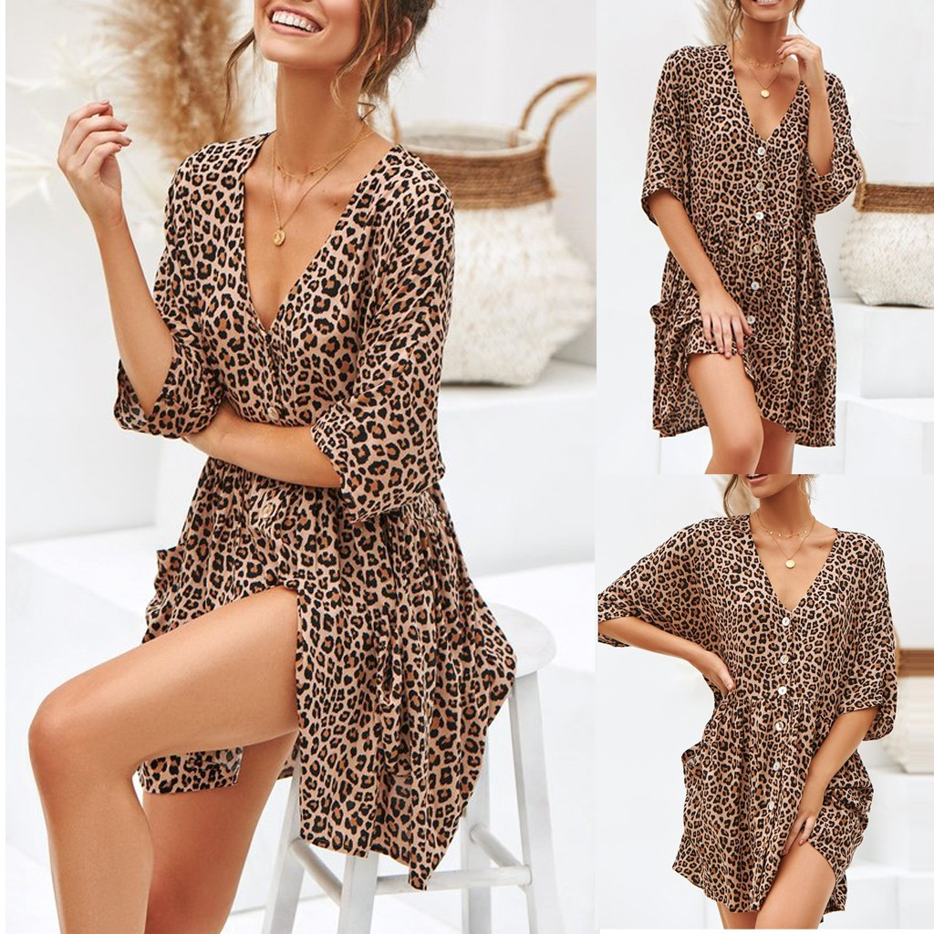 Sexy Womens Fashion Ladies Open Leopard Splice Print Button Casual Dress