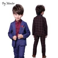 Prince Boys 2Pcs Plaid Formal Wedding Suit England Style Boys Brooch Blazers Kids Tuxedos Boys School Clothing Set Costume