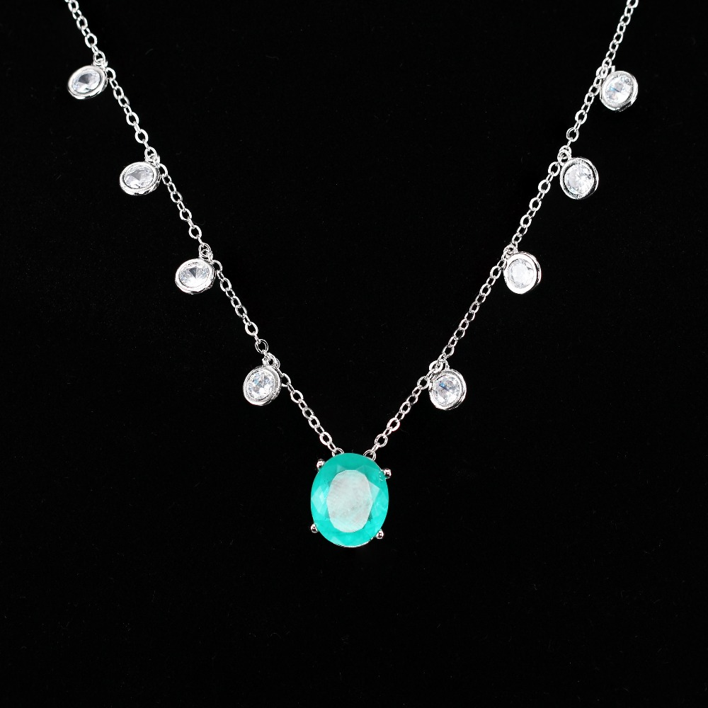 MW fusion stone pendant necklace cubic zirconia chocker necklace New Fashion Jewelry women gift NWX0041082