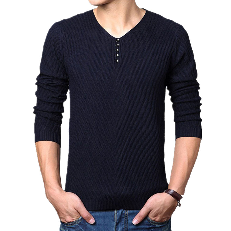 2019 New Winter Henley Neck Sweater Men Cashmere Pullover Christmas Sweater Mens Knitted Sweaters Pull Homme Jersey Hombre