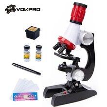 1200X 400X 100X 顕微鏡キットラボ LED ホームスクール科学教育子供のおもちゃギフト洗練された生物顕微鏡子供