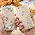 Casos de telefone luminoso para iphone 6 cane videira da flor da fantasia 7 6 S Mais Caso do Vôo Da Borboleta Padrão Capa De Silicone Transparente Coque