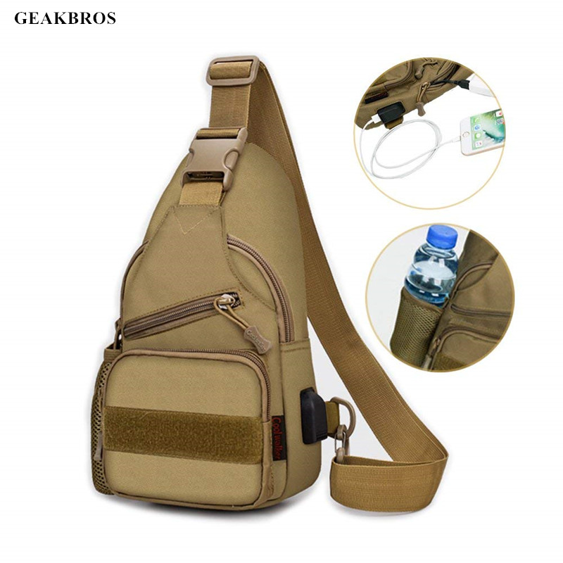 Sports & Entertainment Tactical Military Bag Shoulder Chest Cross Body Backpack For Men Women Sports Climbing Hiking Travel Bag With Usb Charging Port