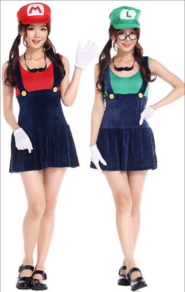 free shipping halloween costume red and green super mario the plumber cosplay costume free size in sexy costumes from novelty special use on