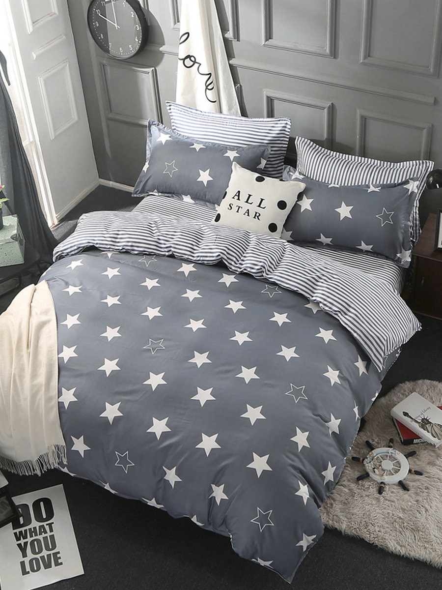 3/4Pcs Bedding Set Stars Pattern Modern Style Comfy Home Linen Set 3/4Pcs Bedding Set Stars Pattern Modern Style Comfy Home Linen Set