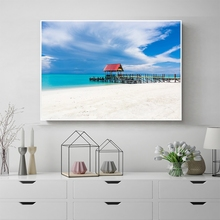 Laeacco Canvas Painting Calligraphy Blue Sky Seaside Poster and Prints Nordic Style  Home Decor on Wall Art Picture Living Room