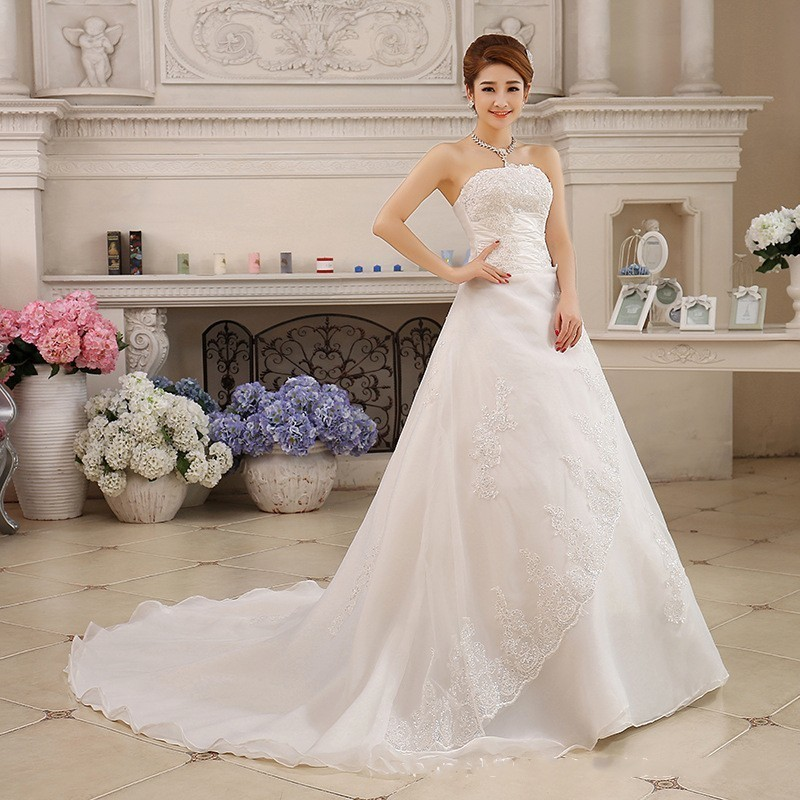 Image 2 - Vestidos De Novia White Wedding Dresses Strapless Ruched Beaded Embroidery Elegant Bride Dresses With Sweep Train Gelinlik 2019-in Wedding Dresses from Weddings & Events