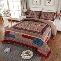 100% Cotton Bedspread Pillow Cases 250cmx270cm Coverlet Set Patchwork Bed Cover Set Floral Bedclothes High Quality 3pcs