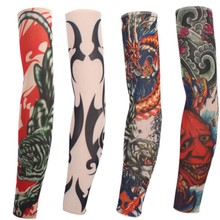 6pcs/lot Fake Temporary Tattoo Sleeves For Arm Leg Women and Men Cool Mesh Stretchy Arm Stockings цена