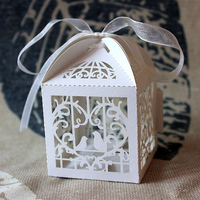 Newest 50PCS Party Wedding Favor Box Love Heart Laser Cut Candy Gift Boxes W Ribbon