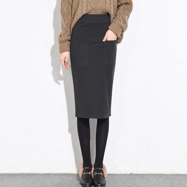 36191261a3f Gray 2018 Autumn Women Skirt Woolen Elastic Waist High Stretch Cashmere  Skirt Shorts Slim Pencil Skirts