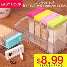 2016 acryl transparent Gewürzglas Bunte Deckel Gewürz Box 6 teile/satz Küche Werkzeuge Salz Gewürz Menage aufbewahrungsbox Behälter