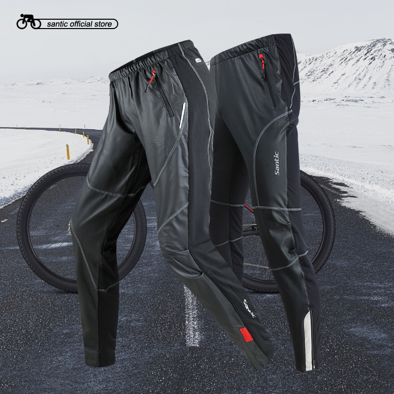 Santic Men Cycling Fleece Pants Full Long Pants Winter Two Fabrics Windproof Sport Cycling Running Leisure Pants C04007/KP6201