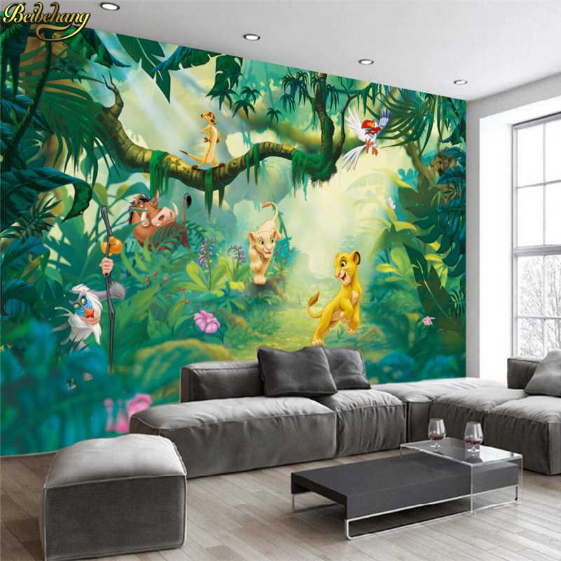 beibehang Custom Photo Wallpaper 3D Cartoon Animal Wood Background Wall Decorative Painting Children Background Wall