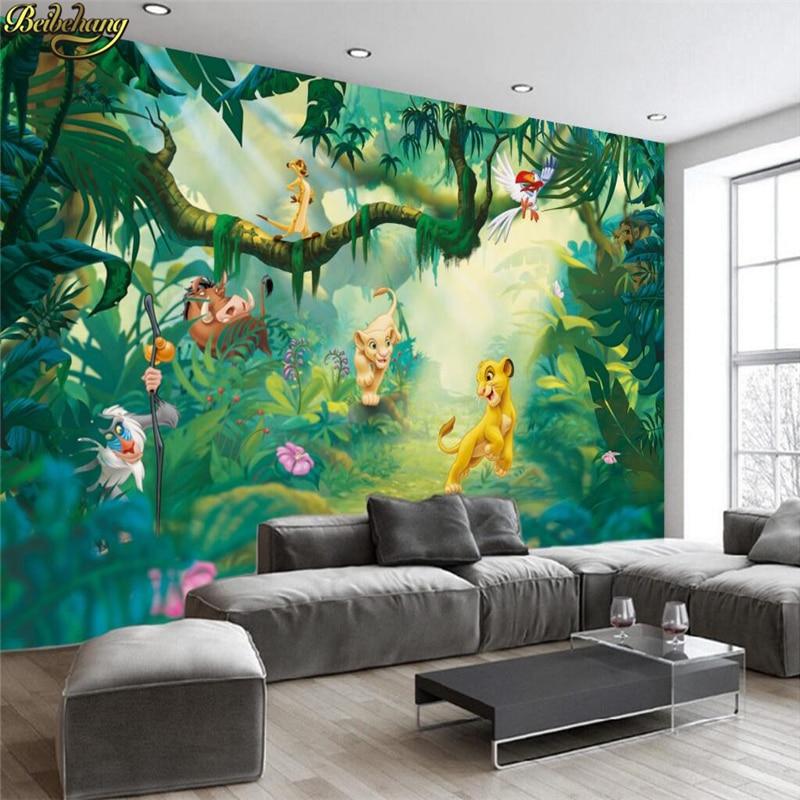 Beibehang Custom Photo Wallpaper 3D Cartoon Animal Wood Background Wall Decorative Painting Children Background Wall