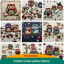 3D embroidery Owl fabric Cotton linen cloth 50 50cm Thick handmade DIY patchwork sewing for Pillow