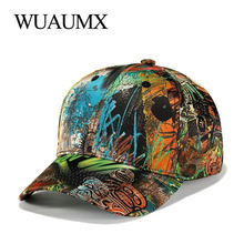 Wuaumx Wholesale Print Baseball Caps For Men Casual Graffiti Snapback Hat Women Curved Peak Hip Hop Cap Fitted New