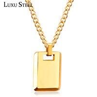 LUXUSTEEL 45 см звено цепи ожерелья для мужчин золото/серебро Прямоугольный кулон простой стильный чокер ювелирные изделия Женский дропшиппинг