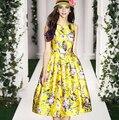 Платье, весна взлетно-посадочной полосы женское платья марка дамы элегантный желтый / принт цветок принт жилет S-XL AM6