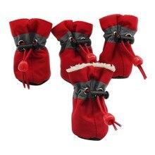 Креативная 4 шт./партия обувь для собак; непромокаемая обувь для дождя и снега; Резиновые Нескользящие ботинки для маленьких собак; обувь для щенков; сезон зима