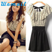 Shocking Show Without Belt! Womens Short Sleeve Chiffon Dots Polka Waist Dress