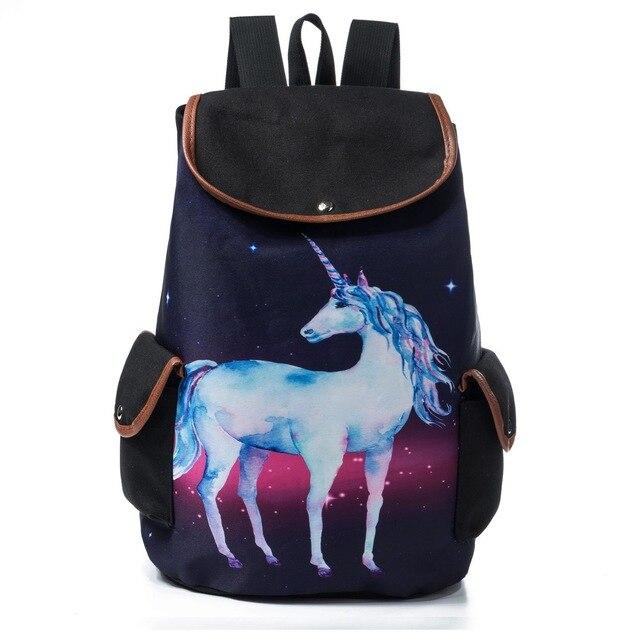 New Pattern Fashion Galaxy Space Woman PULL Bring Backpack Cartoon Unicorn  Print A Bag Woman 5e6d6f210f9
