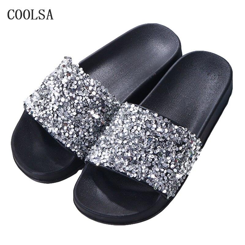 Summer Woman Bling Slippers Sequin Fip Flops Soft Flat Rhinestone Sandals Non-slip Home Slipper Women Slides Outdoor Beach Shoes