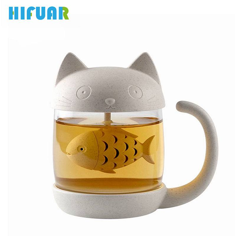 HIFUAR Tea Coffee Cup Cute Cat Infuser Glass Mug Teapot Teabags Mugs Couples Cups with Tea Strainer Filter Kitchen Tools product