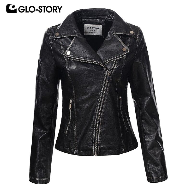 GLO-STORY Femmes Wrap Zipper Slim Fit Faux Veste En Cuir Femmes Argent Noir Punk De Mode Moteur Jaqueta De Couro 6093