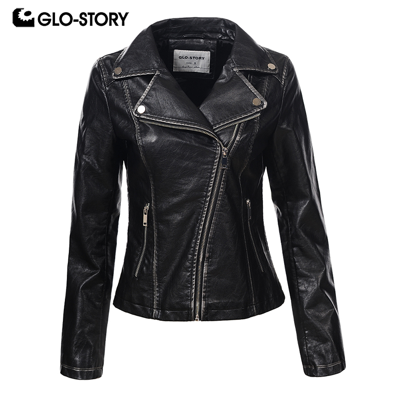 GLO-STORY Women Wrap Zipper Slim Fit Faux   Leather   Jacket Womens Silver Black Punk Fashion Motor Jaqueta De Couro 6093