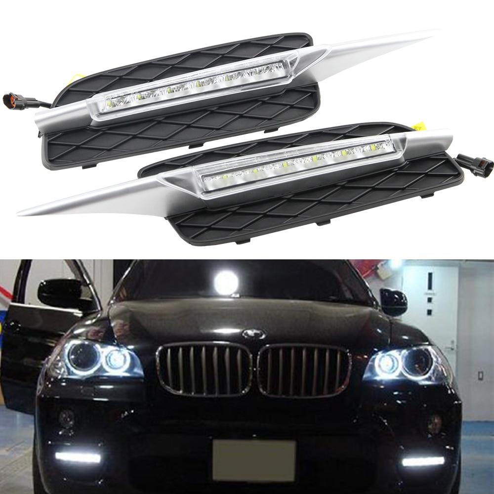 DRL For BMW X5 E70 07 09 LED DRL Daytime Running Light Fog Lamp Bumper Bolton