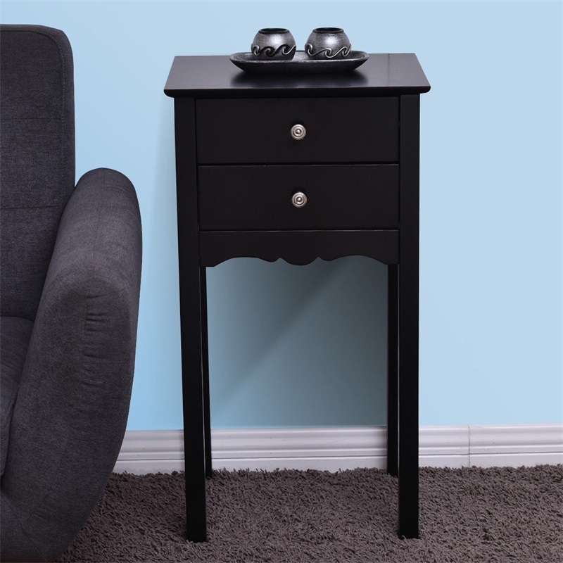 Table d'appoint Vintage pratique avec 2 tiroirs Table d'appoint meubles de salon de haute qualité HW56184