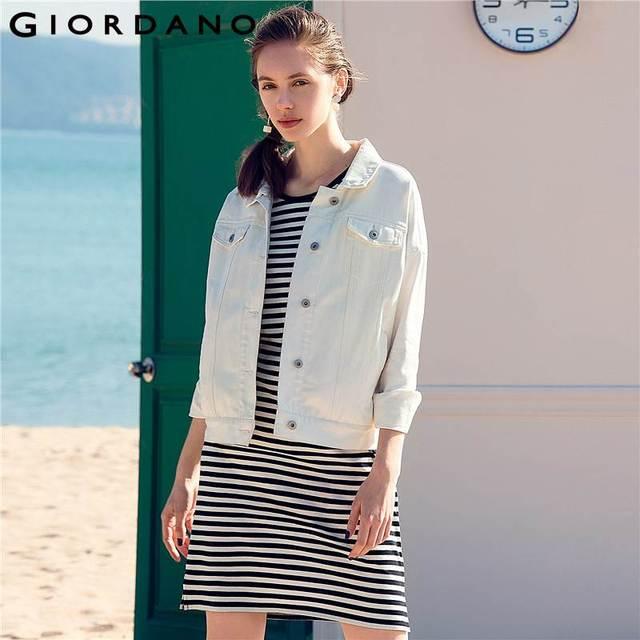 Us 49 6 38 Off Giordano Women Denim Jacket Black White Jeans Jacket Women Loose Cutting Female Coat Chaqueta Mujer Jaqueta Jeans In Basic Jackets