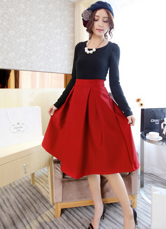 Aliexpress.com : Buy Womens Skirts Vintage Solid High Waist ...