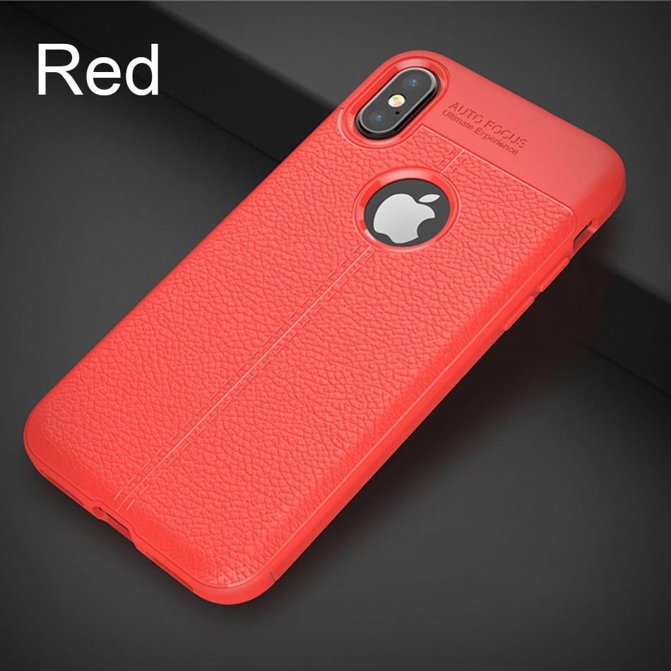 Роскошный кожаный PU силиконовый мягкий чехол для iphone 7 8 6 6s PLus X полный Чехол для iphone X Xr Xs Max противоударный бампер чехол - Цвет: Red