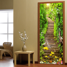 все цены на Self-adhesive 3D Door Sticker Mural Forest Stone Stairs Waterproof PVC Wallpaper Wall Stickers Living Room Bedroom Home Decor онлайн