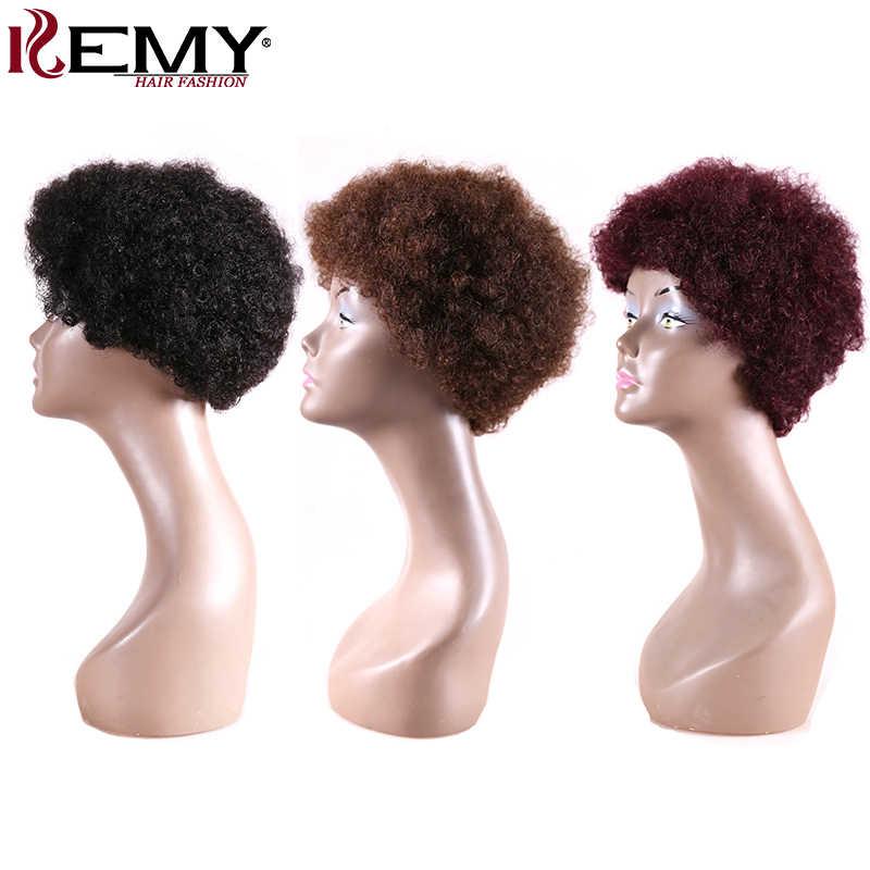 Черный коричневый красный цвет афро кудрявый вьющиеся бразильские короткие человеческие волосы парики для черных женщин не Реми афроамериканские парики kemy Hair