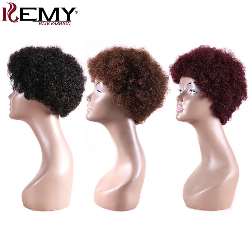 Black Brown Red Color Afro Kinky Curly Brazilian Short Human Hair Wigs For Black Women Non-Remy African American Wigs KEMY HAIR