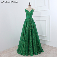 Angel Novias Long Vintage Green Dubai Evening Dress 2018