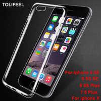 TOLIFEEL чехол для iPhone X 8 7 6 6 S Plus 5 5S SE 4 4s тонкий прозрачный ультратонкий противоударный силиконовый ТПУ чехол задняя крышка