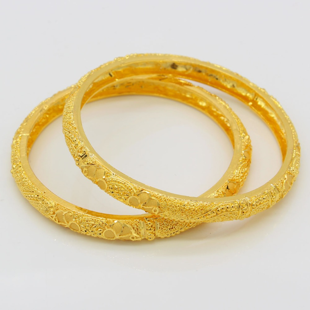 New Arrival Dubai Gold Bangles Women Men 24k Color Kalung Fashion Qj011713 Baru Warna Ethiopia Untuk Wanita 24 K Emas Gelang Afrika