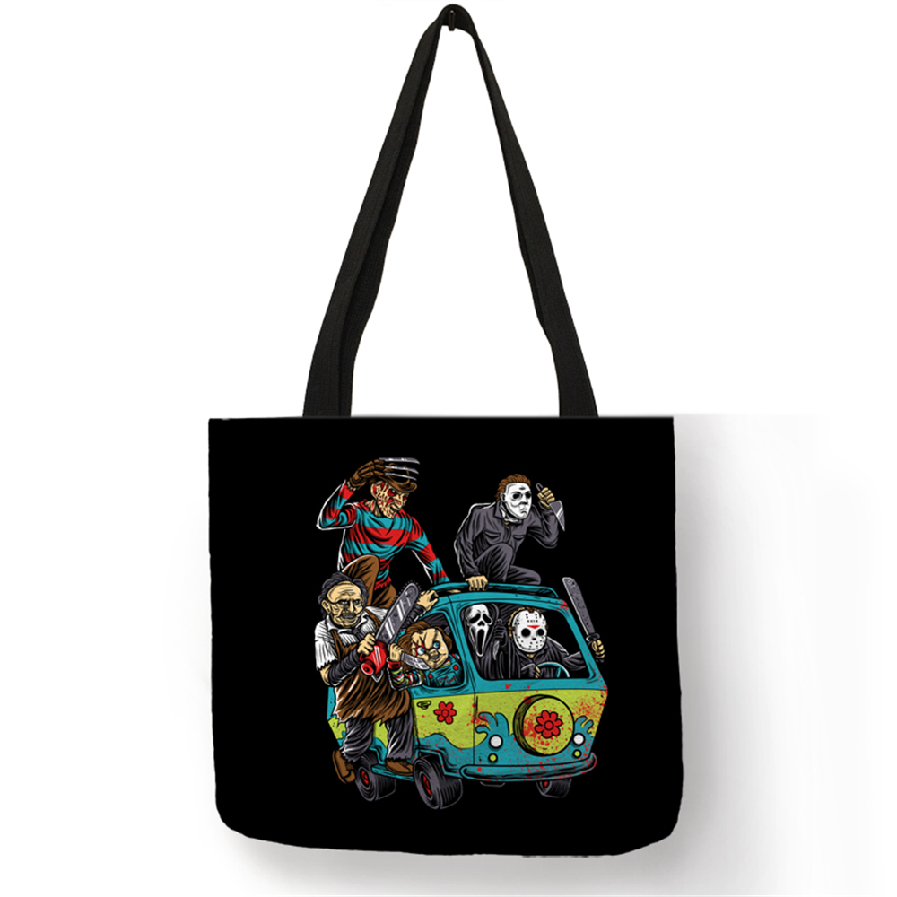 Dropship Customized Horror Movie Freddy Jason Tote Bag For Women Eco Linen Bag With Print Logo Traveling School Shoulder Bags