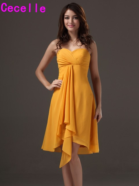 Simple Yellow A Line Sweetheart Short Chiffon Beach Bridesmaid Dresses Gowns Wedding Party Cheap