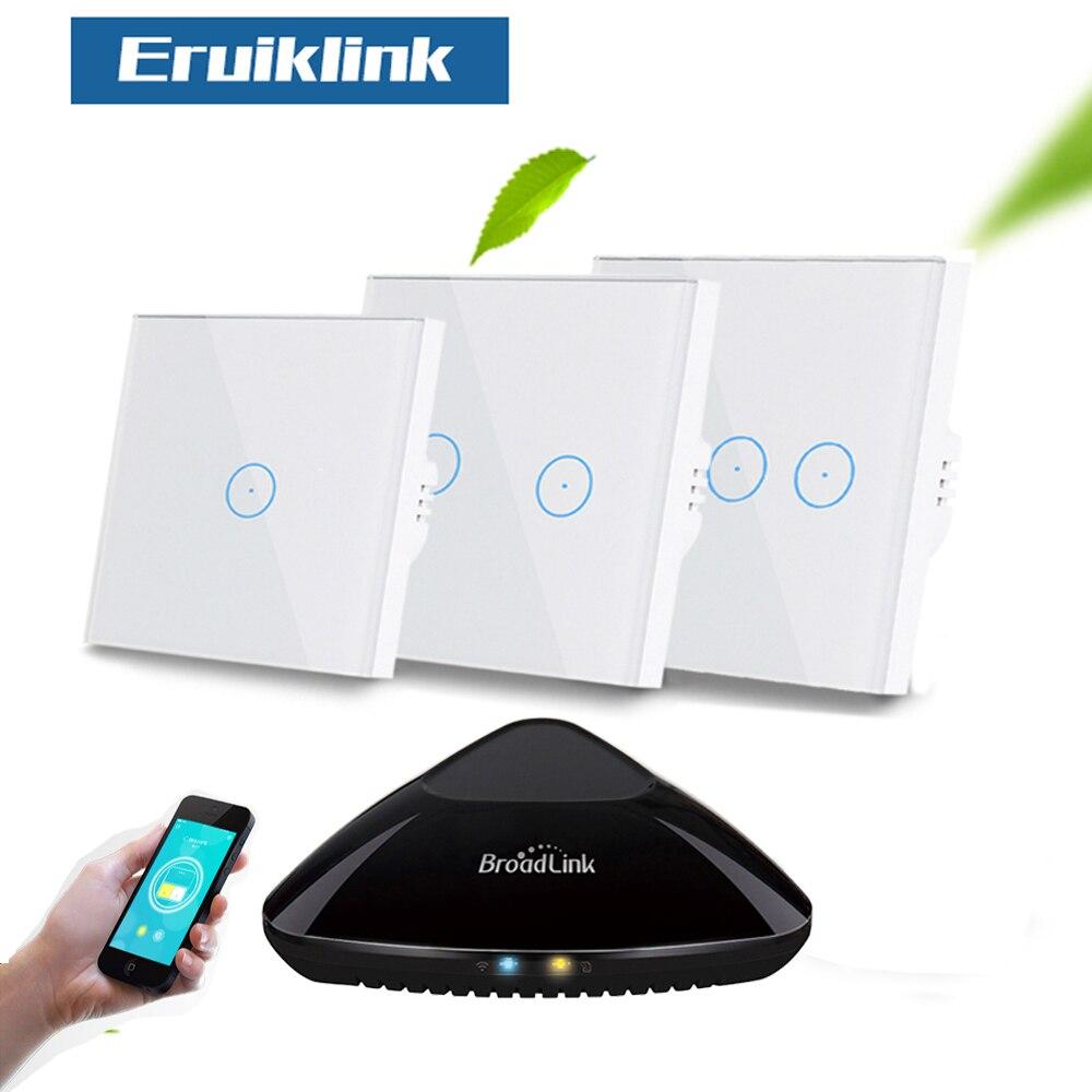 Eruiklink EU/UK 1/2/3 Gang RF433 Remote-Wand Licht Schalter, wireless Control Weiß Kristall Glas Panel Touch Schalter für Smart Home