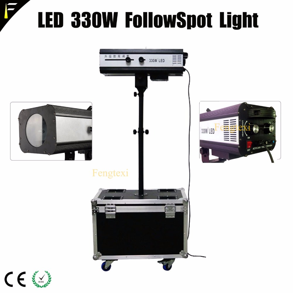 330w LED Follow Spot With Zoom Iris And RGB 6 Color Spot  Theater Following Spot Wheel Aviation Flight Case Packing Follwspot