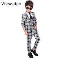Gentleman Boys Plaid Blazer Vest Shirt Pants 4pcs Suit Set Formal Suits for Weddings Boys Tuxedo Kids Party Clothing Sets F024