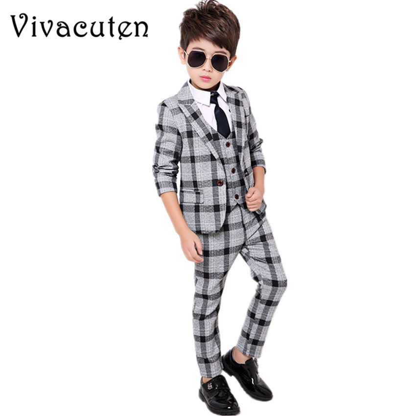 цена на Gentleman Boys Plaid Blazer Vest Shirt Pants 4pcs Suit Set Formal Suits for Weddings Boys Tuxedo Kids Party Clothing Sets F024