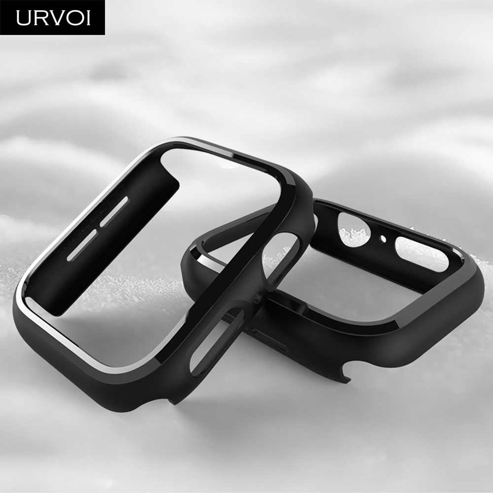URVOI Tampon apple watch serisi 5 4 3 için PC durumda iWatch ince koruyucu plastik siyah çerçeve 40 44 38 42 mm kılıf bant