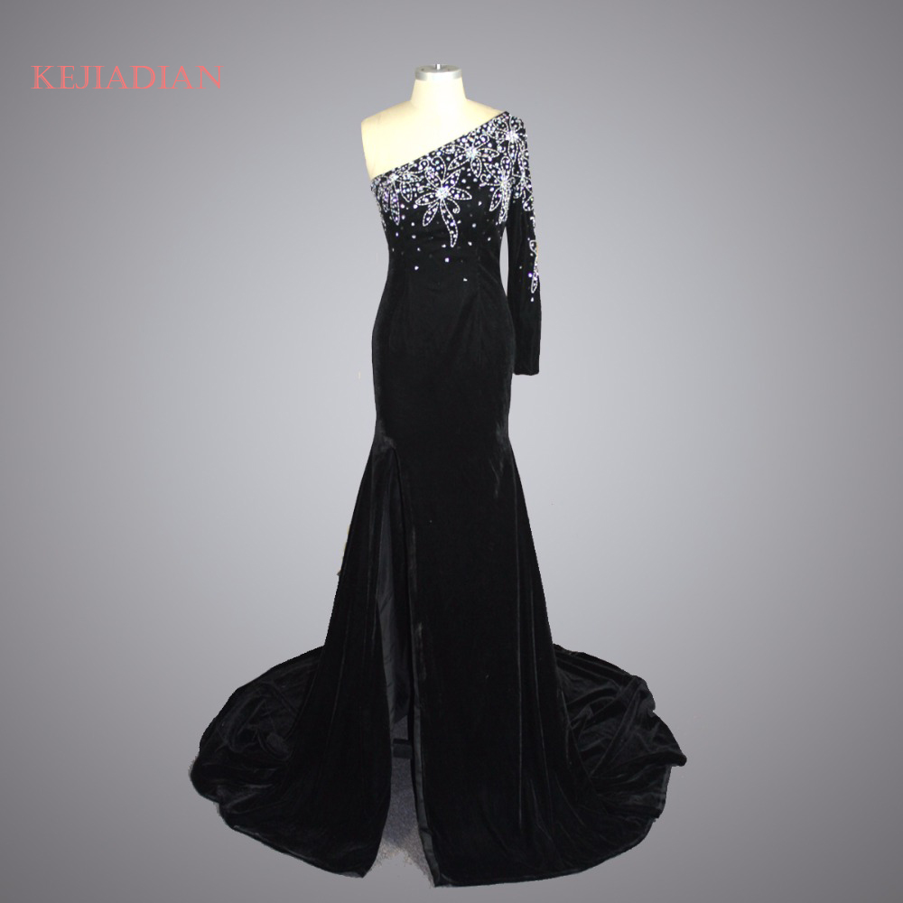 Evening Dresses Vestido De Festa 2018 Black Fashion Mermaid Evening Dress Velour Beading One Shoulder Evening Gown Prom Dress Party Gown