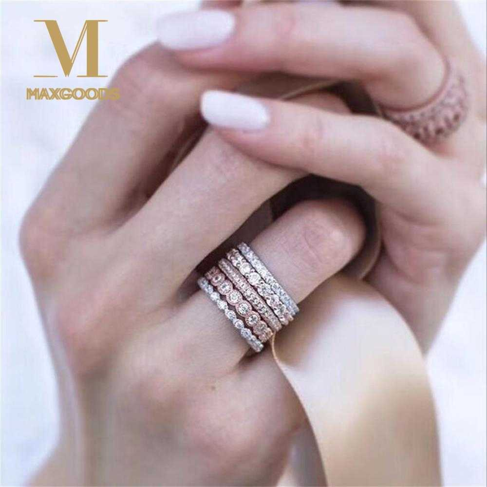 5Pcs/set Vintage Sparkly Rose Gold Crystal Rhinestone Stackable Rings for Women Wedding Jewelry